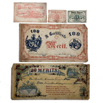 19th Century Public School Certificates of Merit - Sold Individually