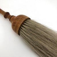 Blonde Round Horsehair Brush with Turned Wooden Handle