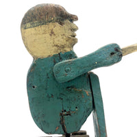 Wonderful Antique Folk Art Carved and Painted Figure with Fishing Pole