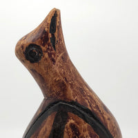 Jamaican Hand-carved Folk Art Bird Sculpture Stained with Shoe Polish, 1974