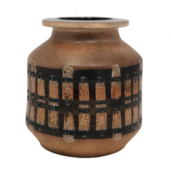Lapid Israël Mid-Century Wax Resist Patterned Brown Vase