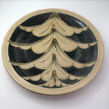 Huge 1970s Studio Pottery Platter Signed MM, with Hand-painted Blue, Gray and Brown Design On Cream Body