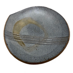 Blue-Gray Small Pottery Slab Plate with Incised Stripes and Pale Brown Loop