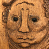 Charming Relief Carved Wooden Plaque with Two Faces