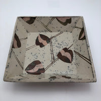 Interesting Square 1970s Pottery Bowl, Cream with Pink and Copper Decoration