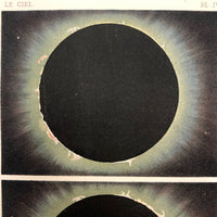 Antique French Astronomical Book Plate: Gaseous Proturberances During 1860 Solar Eclipse