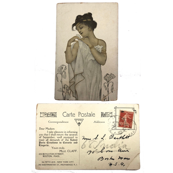 Antique Art Nouveau French Postcard Announcing the Return of Mlle Claff to Boston with New Corsets and Lingerie