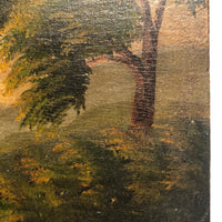 Wonderful Hudson River School Oil on Wood Panel with Farm, Waterfall