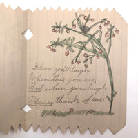 Wonderful Antique Child Made Friendship Card with Nest in Tree Drawing and Cut Paper Edging