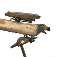 Carved, Painted Antique Mechanical Bird