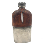 Antique Leather and Silver-plate Glass Flask