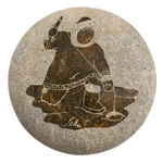Soapstone Lidded Box with Ice Fishing Figure