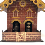 Wonderful Antique Painted Tin House with Carved, Spinning Couple