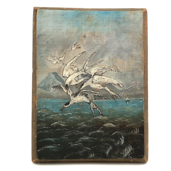 Swarming Gulls Over Moody Sea Old Oil Painting on Wood Panel