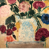 Folky Old Adirondack Painting of Flowers in Vase,  Oil on Board