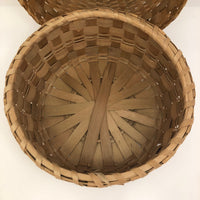 Large Lidded Micmac Natural Ash Splint Basket with Curlicues