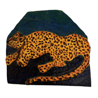 Leopard Painting on Shingle by Susi Lulaki