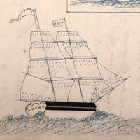 Blue and Black Ink Drawing of Two Ships with Math Problem on Reverse