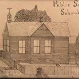 Wonderful Pen and Ink Drawing of Schomberg Public School, Ontario, 1903-4