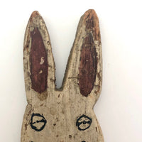 Painted Old Folk Art Wooden Rabbit with Blue Coat