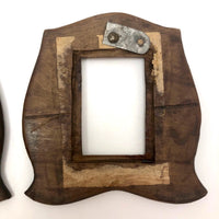 Super Sweet Pair of Old Chip Carved Handmade Wooden Frames