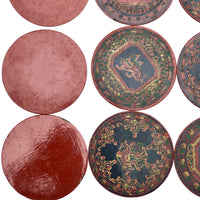 Set of Nine Vintage Burmese Yun-De Lacquer Coasters Decorated With Animals and Mythological Creatures