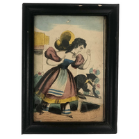 Antique Hand-colored Lithograph of Woman and Cat with Bird, c. 1840s-50s