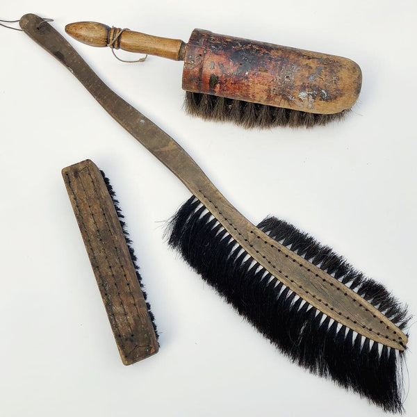 Set of Three Old Brushes