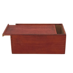 Red Stained Wooden Slide Top Box with Dovetail Corners