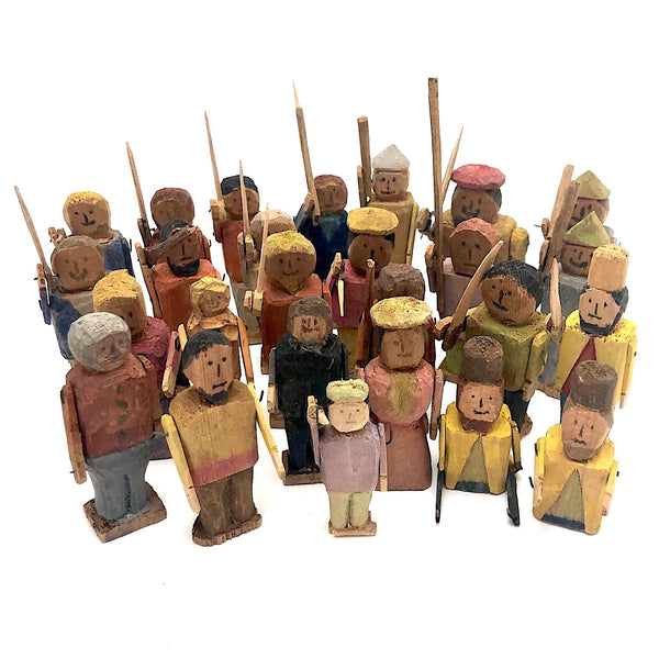 Amazing One of a Kind Folk Army of 26 Colorful Figures and Soldiers