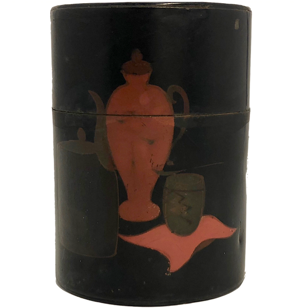 Black and Red Hand-painted Japanese Tea Caddy