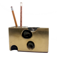 Brass Swiss Cheese Vintage Pen and Pencil Holder