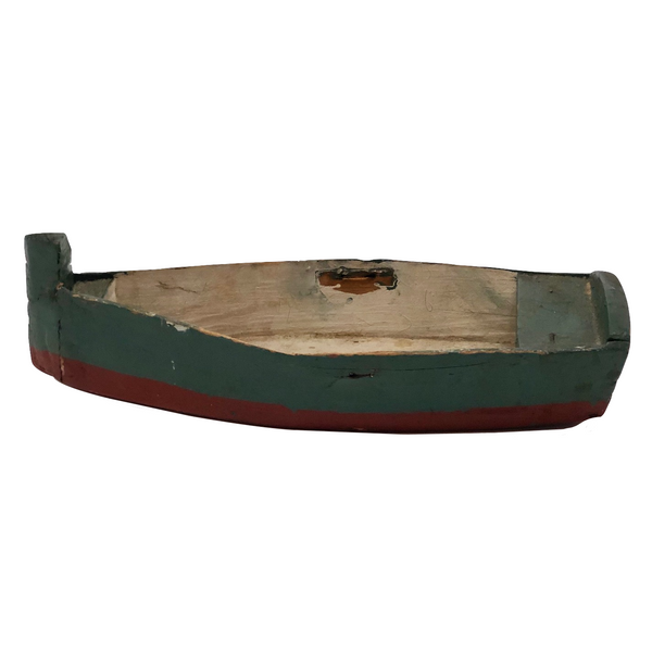 Green and Red Painted Wonderful Old Wooden Toy Row Boat