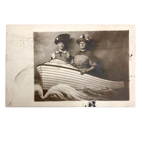 Hatted Women with Prop Boat, Real Photo Postcard, 1911