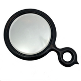 Black Antique Bevelled Glass Hand Mirror with Looped Handle