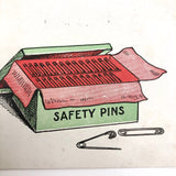 A Case of Necessity Box of Safety Pins Antique Postcard
