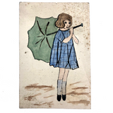 Girl in Blue Dress with Blue Umbrella Old Hand-painted Postcard