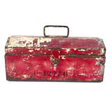 Big Old Metal Tool Box with Chippy Red and Cream Paint
