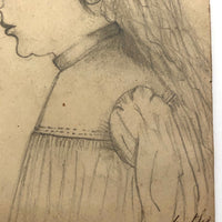 Pencil Drawing of Marthe in Profile on French Furniture Shop Card