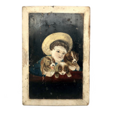 Boy in Hat with Dogs Victorian Era Painting on Wood Panel - HOLD for KD