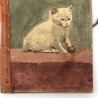 Marvelous Handmade Victorian Needle Book with Watercolor Cat Cover
