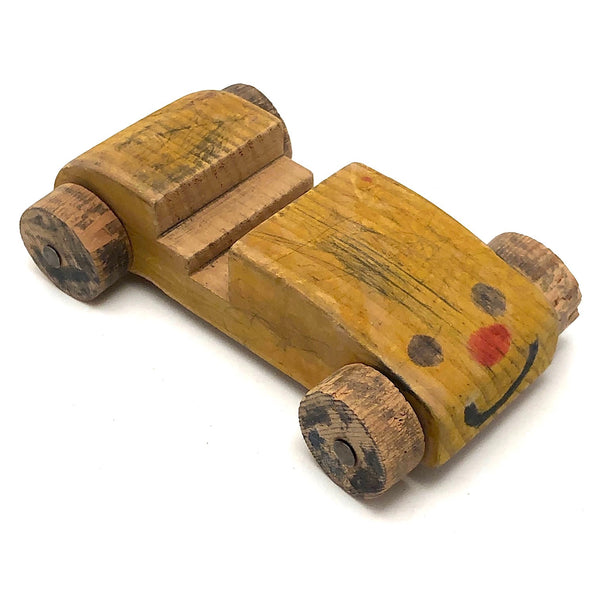 Wooden Car with Smiley Face