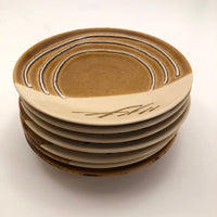 Great Set of Seven Mustard and Cream Japanese Studio Pottery Small Plates