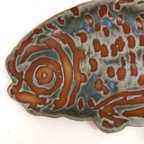 Striking Studio Pottery Fish Platter Signed KM