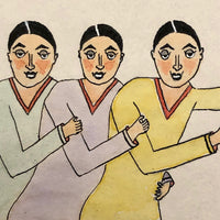 Marvelous 1929 Ink and Watercolor Drawing of Three Women