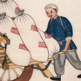 Antique Chinese Gouache Painting of Two Figures with Cart on Pith Paper, Signed