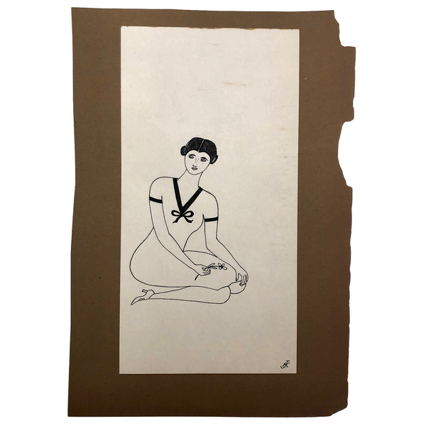 Lovely Black Ink Drawing of Woman with Flower Signed JK, c. 1929