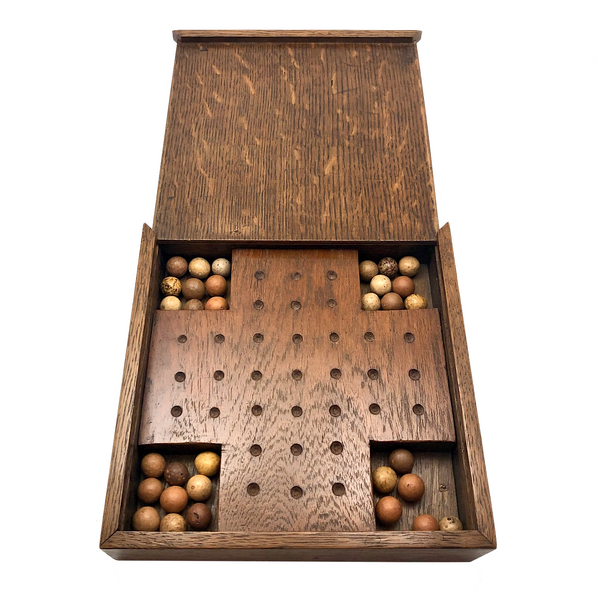 Excellent Old Handmade Marbles Solitaire Board with Clay Marbles