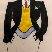Dapper Fellow with Red Tie and Yellow Vest, 1920s Ink and Watercolor Drawing