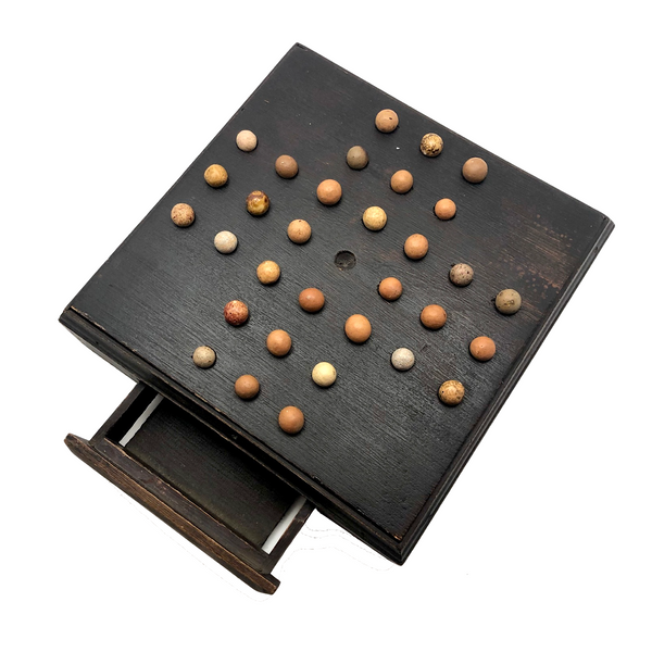 Large Handmade Marble Solitaire Board with Clay Marbles